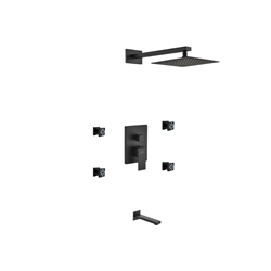 "Aqua Piazza Black Brass Shower Set w/ 8"" Square Rain Shower,  4 Body Jets and Tub Filler"