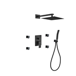 "Aqua Piazza Black Brass Shower Set w/ 12"" Square Rain Shower,  Handheld and 4 Body Jets"