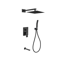 "Aqua Piazza Black Shower Set w/ 12"" Square Rain Shower,  Tub Filler and Handheld"
