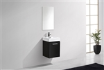 Bliss 16'' Black Wall Mounted Modern Bathroom Vanity