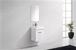 Bliss 16'' High Gloss White Wall Mounted Modern Bathroom Vanity