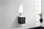 Bliss 16'' High Gloss Gray Oak Wall Mounted Modern Bathroom Vanity