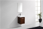 Bliss 16'' Walnut Wall Mounted Modern Bathroom Vanity