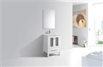 "Brezza 24"" High Gloss White Modern Bathroom Vanity w/ Frosted Glass Doors"