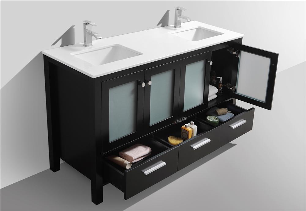 Brezza 60'' Espresso Modern Double Sink Bathroom Vanity W/ Frosted