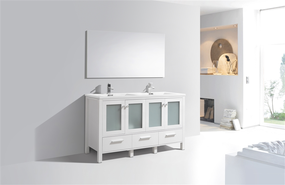 Brezza 60 39 39 high gloss white modern double sink bathroom vanity w frosted glass doors for Bathroom vanity with frosted glass doors