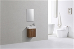 Bliss 18'' High Glossy Chestnut Wood Wall Mounted Modern Bathroom Vanity