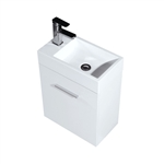 Bliss 18'' Gloss White Wall Mounted Modern Bathroom Vanity