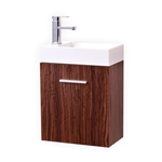 Bliss 18'' Walnut Wall Mounted Modern Bathroom Vanity