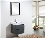 "Bliss 24"" Gray Oak  Wall Mount Modern Bathroom Vanity"