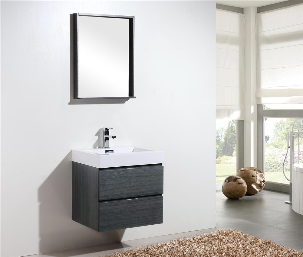 """bliss 24"""" gray oak wall mount modern bathroom vanity"""
