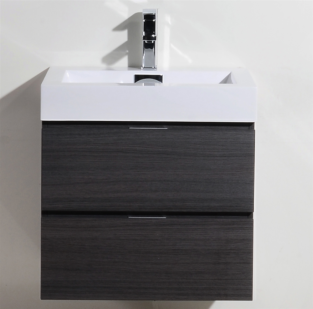 bliss  gray oak wall mount modern bathroom vanity - the bliss by kubebath is one of the most elegant modern bathroom vanities