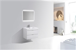 "Bliss 24"" High Glossy White Modern Bathroom Vanity"