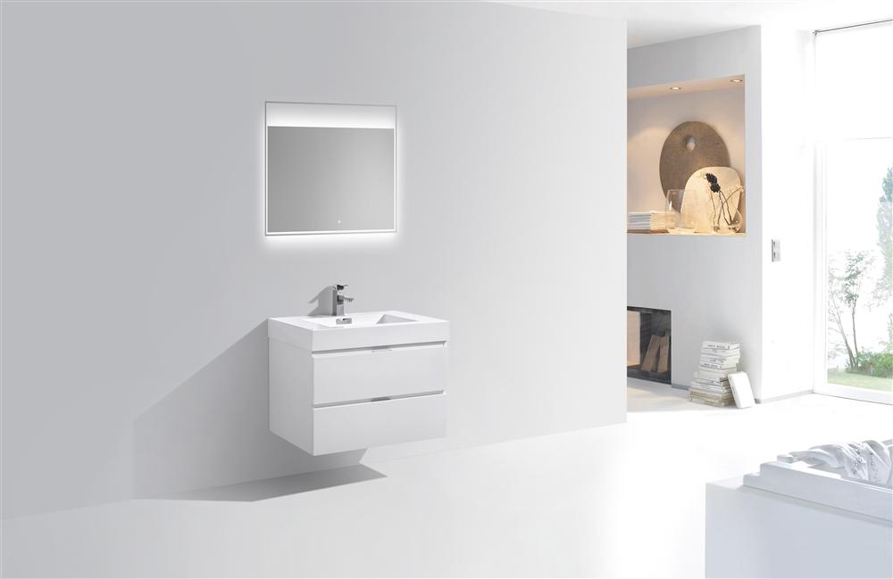 Bliss 24 High Glossy White Wall Mount Modern Bathroom Vanity In Stock