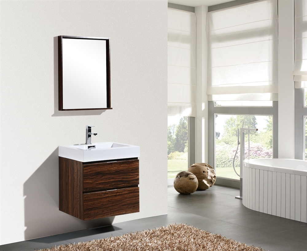 Bliss 24 Quot Walnut Wall Mount Modern Bathroom Vanity