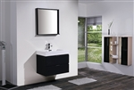 "Bliss 30"" Black Wall Mount Modern Bathroom Vanity"