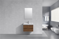 "Bliss 30"" High Glossy Chestnut Wood Modern Bathroom Vanity"