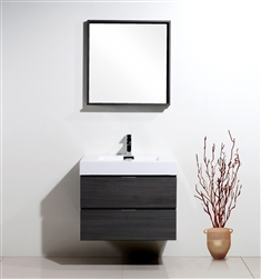 "Bliss 30"" Gray Oak  Wall Mount Modern Bathroom Vanity"