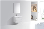 "Bliss 30"" High Glossy White Modern Bathroom Vanity"