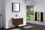 "Bliss 30"" Walnut  Wall Mount Modern Bathroom Vanity"