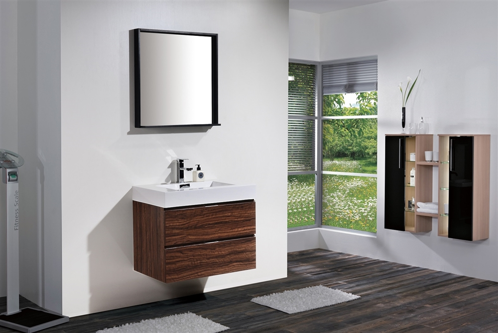 . Bliss 30  Walnut Wall Mount Modern Bathroom Vanity   In Stock