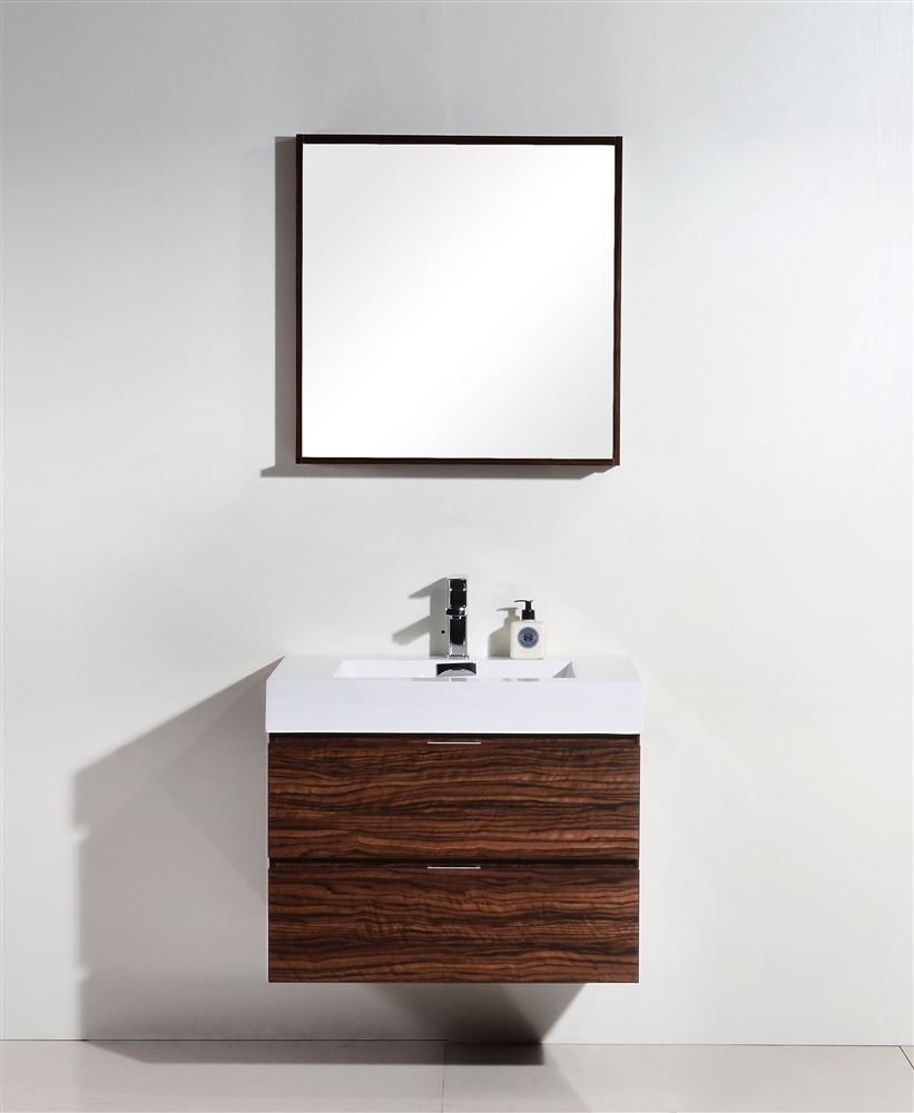 bliss  walnut wall mount modern bathroom vanity - the bliss by kubebath is one of the most elegant modern bathroom vanities