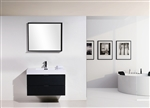 "Bliss 36"" Black  Wall Mount Modern Bathroom Vanity"