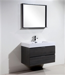 "Bliss 36"" Gray Oak  Wall Mount Modern Bathroom Vanity"