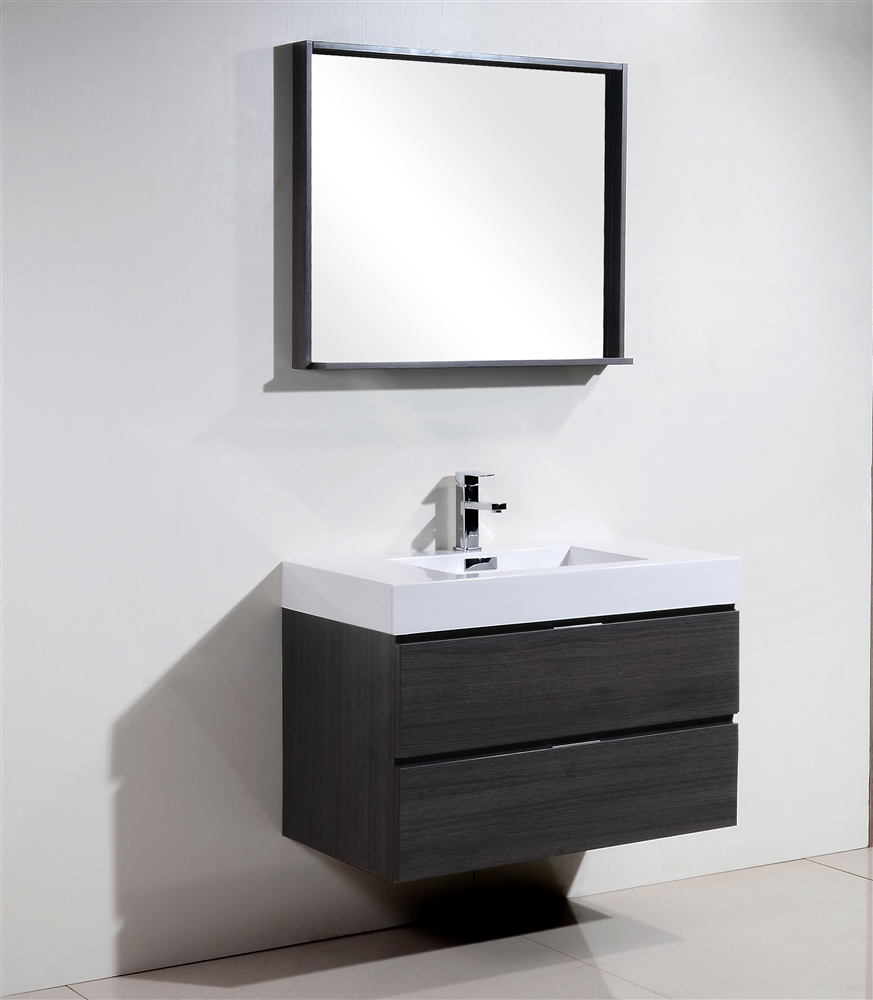 gray oak wall mount modern bathroom vanity - bliss  gray oak wall mount modern bathroom vanity