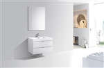 "Bliss 36"" High Glossy White Modern Bathroom Vanity"