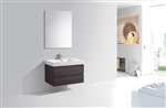 "Bliss 36"" High Gloss Gray Oak  Wall Mount Modern Bathroom Vanity"