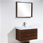 "Bliss 36"" Walnut Wall Mount Modern Bathroom Vanity"