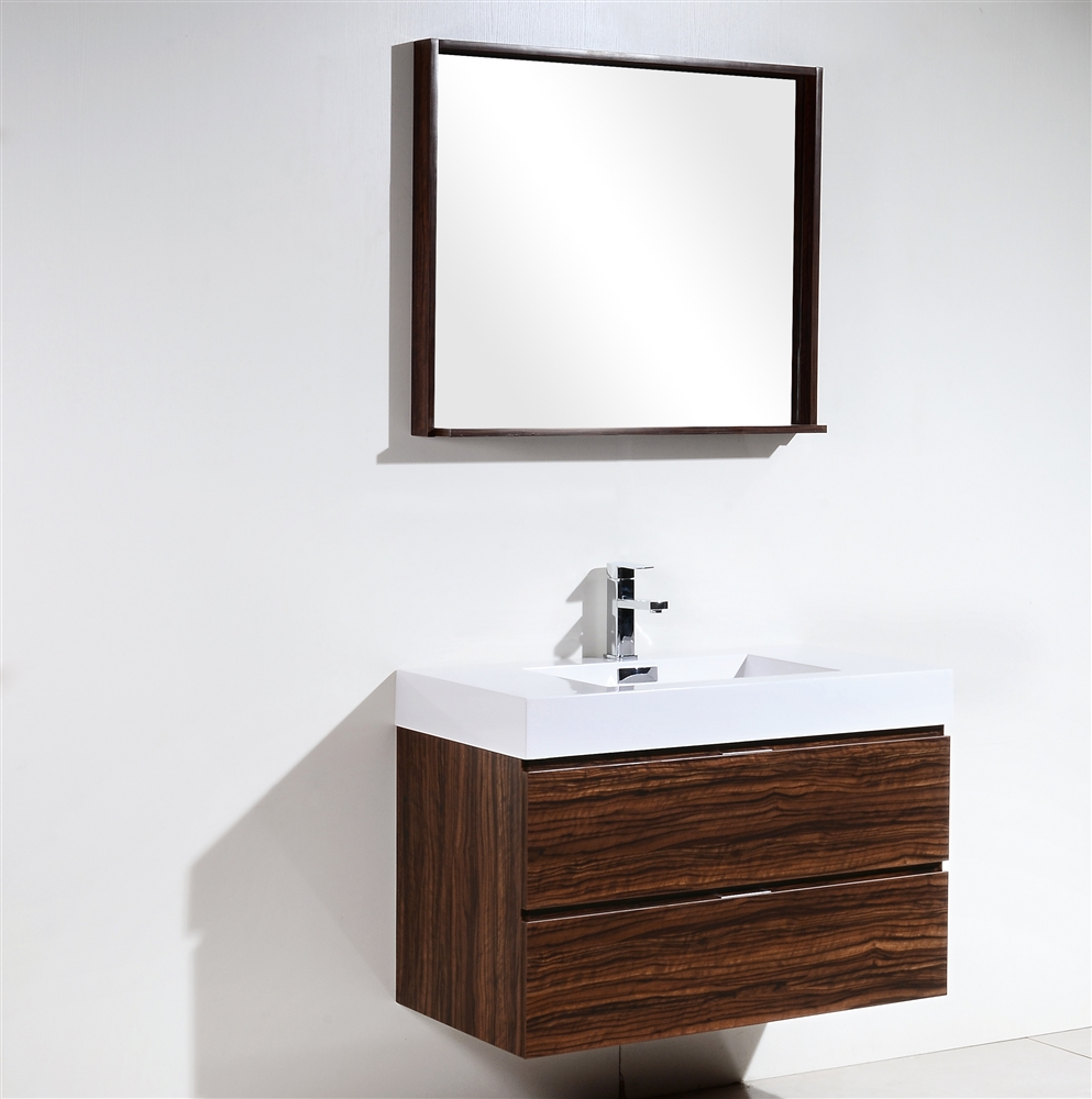 . Bliss 36  Walnut Wall Mount Modern Bathroom Vanity   In Stock