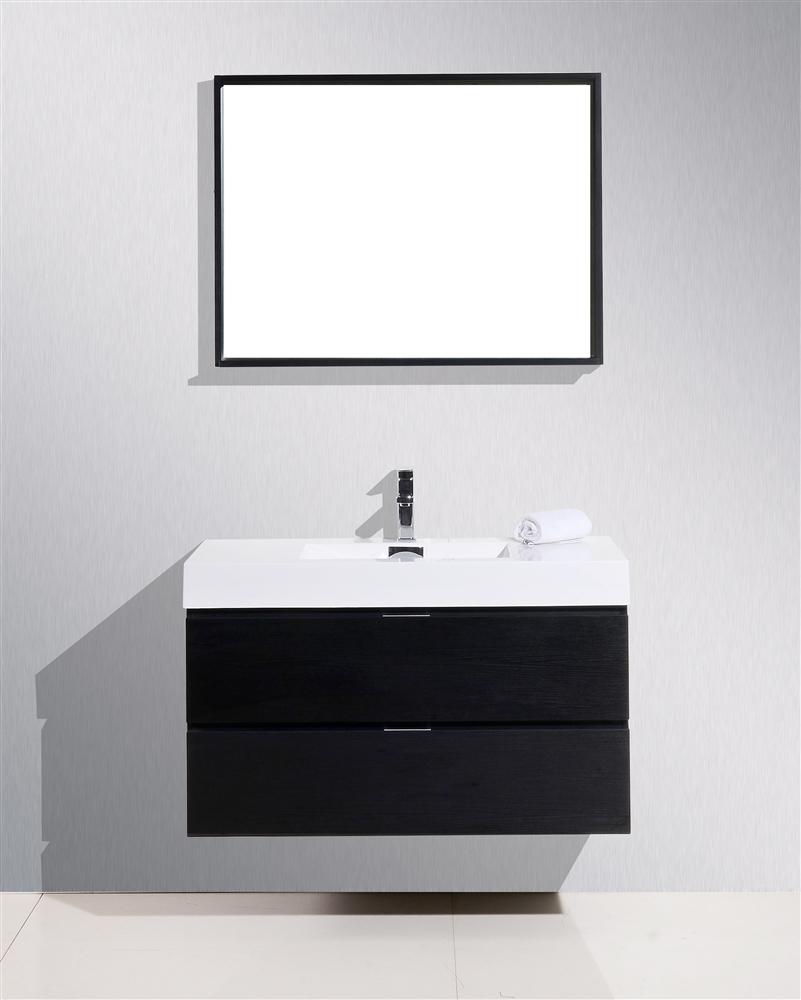 black wall mount modern bathroom vanity - bliss  black wall mount modern bathroom vanity