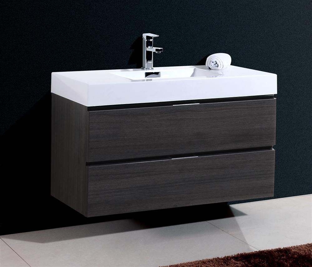 Bliss 40 Gray Oak Wall Mount Modern Bathroom Vanity