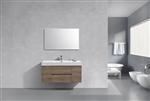 "Bliss 48"" Butternut Wood Wall Mount  Single Sink Modern Bathroom Vanity"