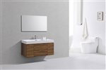 "Bliss 48"" High Glossy Chestnut Wood Wall Mount  Single Sink Modern Bathroom Vanity"