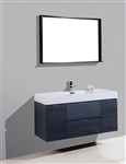 "Bliss 48"" Gray Oak Wall Mount  Single Sink Modern Bathroom Vanity"
