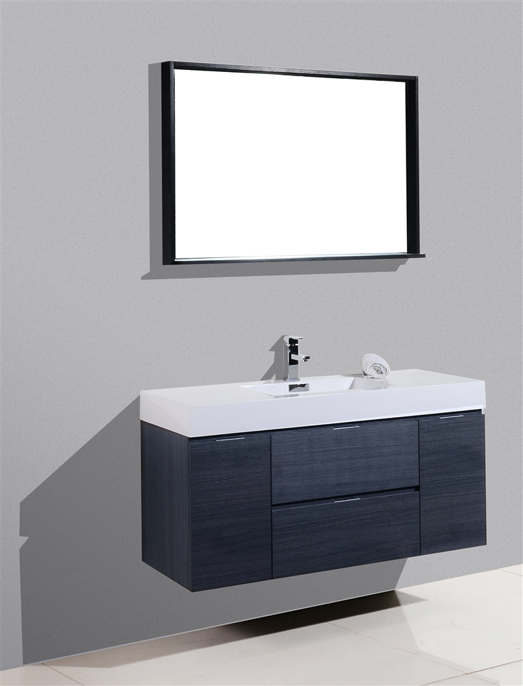 Bliss 48 Quot Gray Oak Wall Mount Single Sink Modern Bathroom Vanity