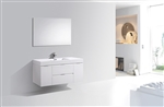 "Bliss 48"" High Glossy White Wall Mount  Singel Sink Modern Bathroom Vanity"