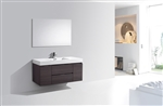 "Bliss 48"" High Gloss Gray Oak Wall Mount  Single Sink Modern Bathroom Vanity"