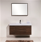 "Bliss 48"" Walnut Mount Single Sink Modern Bathroom Vanity"