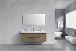 "Bliss 60"" Butternut Wood Mount  Double Sink Modern Bathroom Vanity"