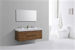 "Bliss 60"" High Glossy Chestnut Wood Mount  Double Sink Modern Bathroom Vanity"