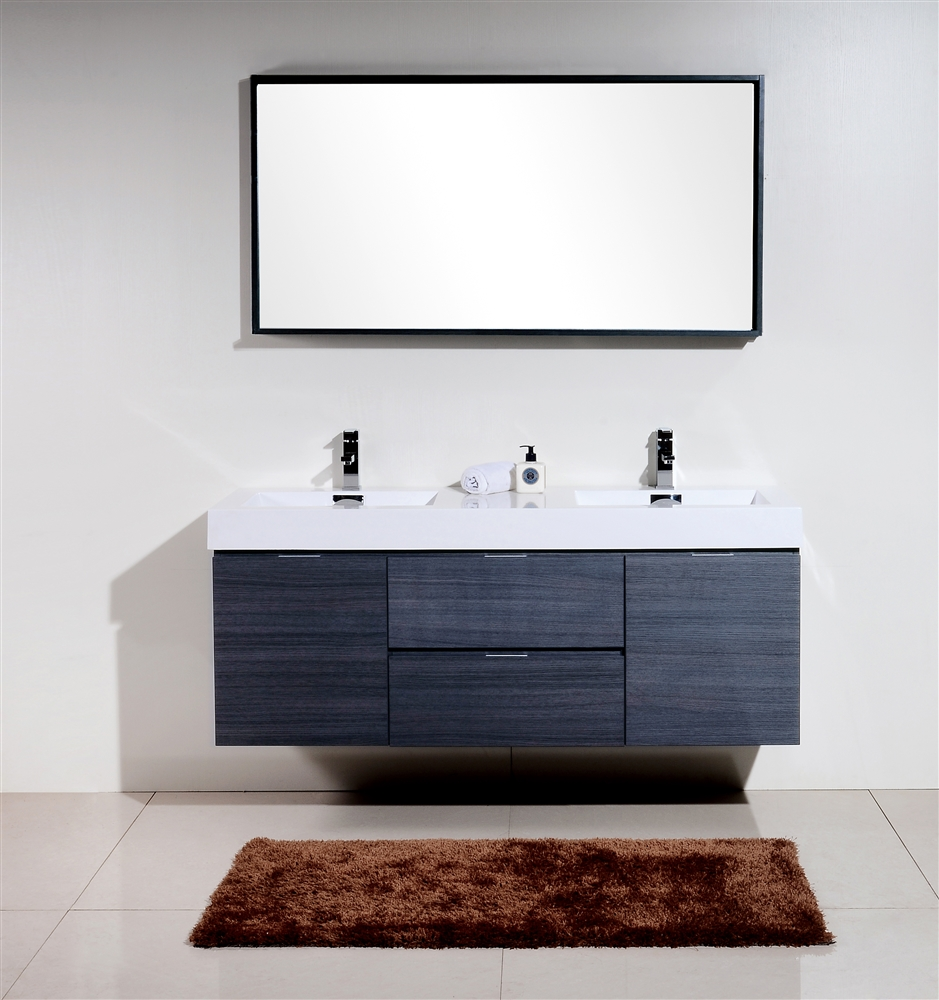 Bliss 60 gray oak mount double sink modern bathroom vanity - Contemporary double sink bathroom vanity ...