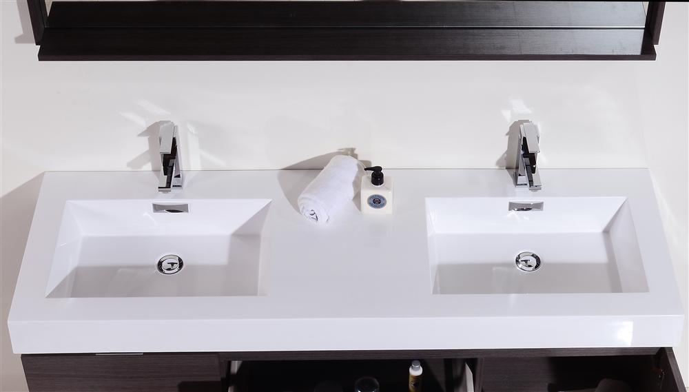 Bliss 60 Quot Gray Oak Mount Double Sink Modern Bathroom Vanity