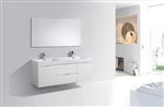 "Bliss 60""  Gloss White Wall Mount  Double Sink Modern Bathroom Vanity"