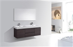 "Bliss 60"" High Gloss Gray Oak Mount  Double Sink Modern Bathroom Vanity"