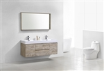 "Bliss 60"" Nature Wood Mount  Double Sink Modern Bathroom Vanity"