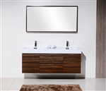"Bliss 59"" Walnut Wall Mount  Double Sink Modern Bathroom Vanity"